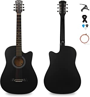 SHINEDOWN 38 inch Acoustic Guitar in Full Size Black Beginner All Wood Cutaway Starter Set with Free Capo/A Pack of Extra ...