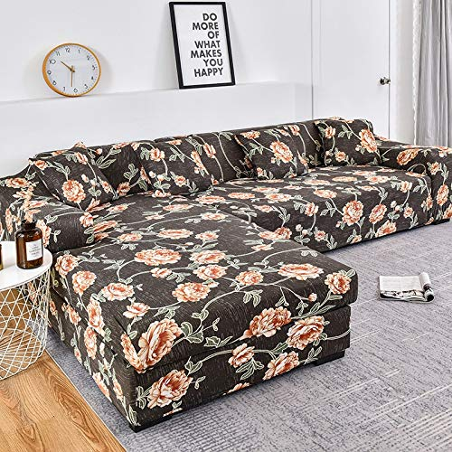 WXQY La Funda de sofá Impresa se estira elásticamente, es Necesario Pedir 2 Piezas de sofá en Forma de L. Funda para sofá de salón A3 3 plazas