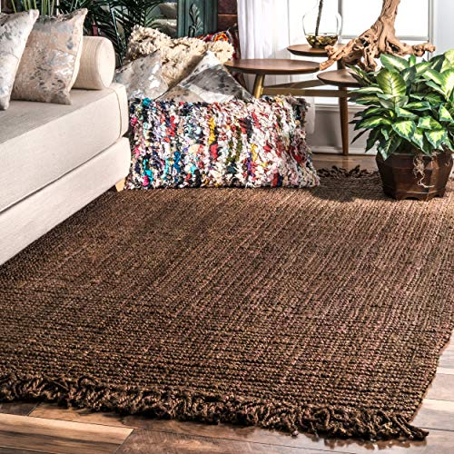 "nuLOOM Natura Collection Chunky Loop Jute Rug, 7' 6"" x 9' 6"", Chocolate, 6"" 6"""