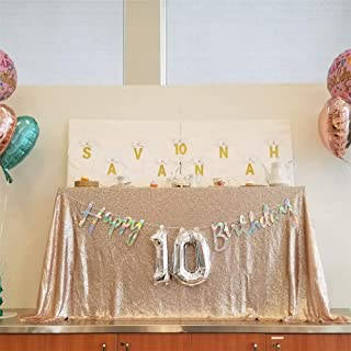 Champagne Blush Sequin Tablecloth 60x102Inch Rectangle Tablecloth Wedding Party Table Decorations Fabric