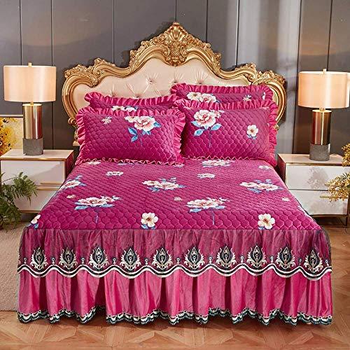 Bett Rock Anzug Rüge Bettrock 3-teilig Set Rüschen Stickerei gefaltete Bettdecken...