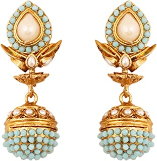 Indian Bollywood spherical faux pearls jhumki earrings in antique gold tone for women