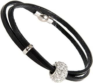 Stunning Womens Leather Cubic Zirconia Bead Bracelet 7