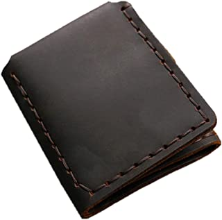 Wallet Men Handmade Crazy Horse Leather Purse Men's Short Vintage Wallet with Coin Pocket,Coffee