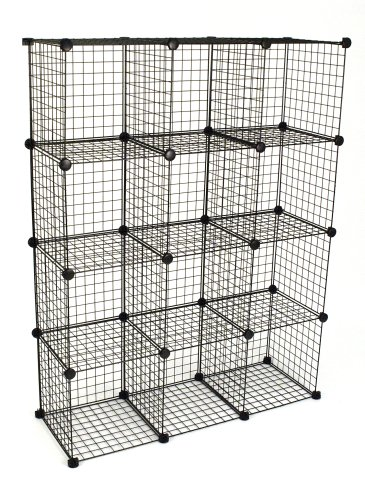 KC Store Fixtures 04120 Mini Grid Clothes Organizer, 3-Foot by 4-Foot, Black