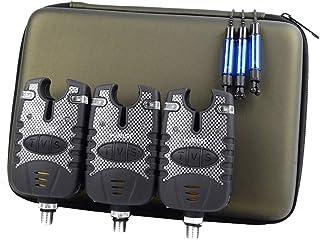 Alarmas de cebo de pesca de carpa, 3 unidades e indicador de caída, en funda protectora con cremallera