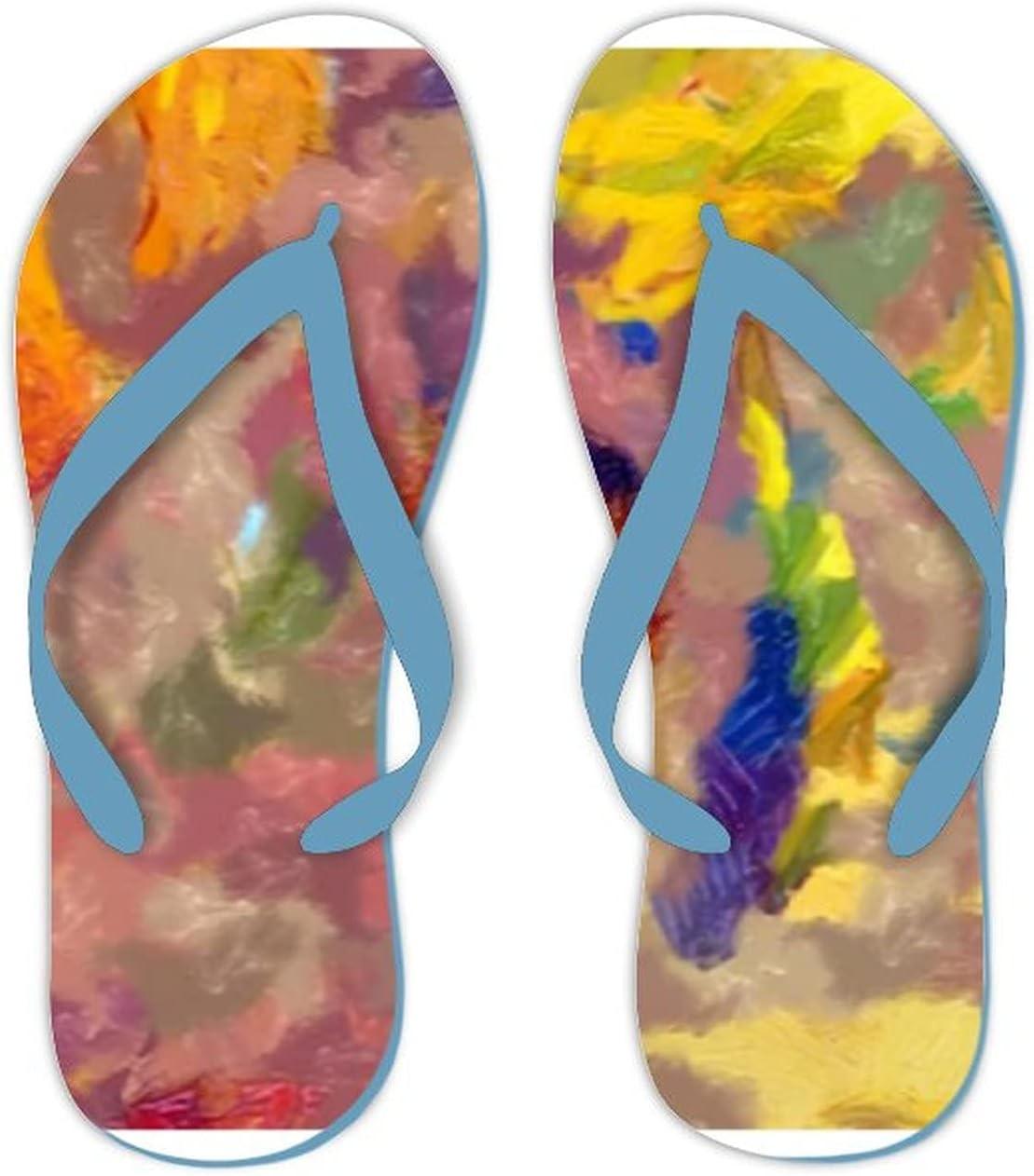 Summer Flip Flops for Men Women Abstract Texture Background Digital Painting Soft Lightweight Non Slip Sandals for Shower Beach Pool Bathroom Flat 7.5