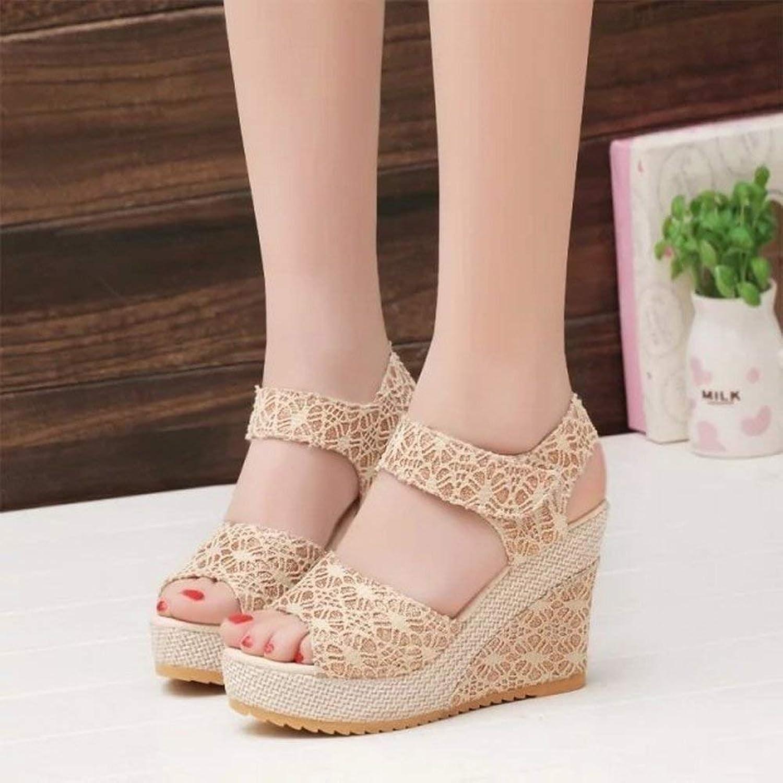 Oudan Velcro Keil mit Rom Schuhe High Heel Wasserdichte Spitze Weibliche Sandalen (Farbe   Polieren, Gre   35)