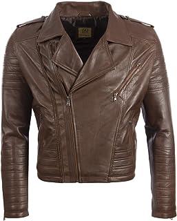 Aviatrix Men's Real Leather Asymmetric Zip Fashion Biker Jacket (SDTM)