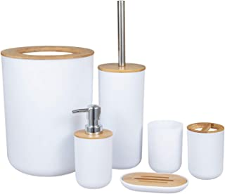 Jcevium Lot de 6 accessoires de salle de bain en bambou respectueux de l'environnement avec distributeur de lotion Etc.-WEII