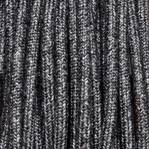 Fil électrique tissu lin anthracite - câble rond 2 fils 2x0.75mm2