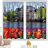 Cortina opaca para barra de cortina Landscape,Holland Amsterdam Wiev W52 x L95 pulgadas cortinas