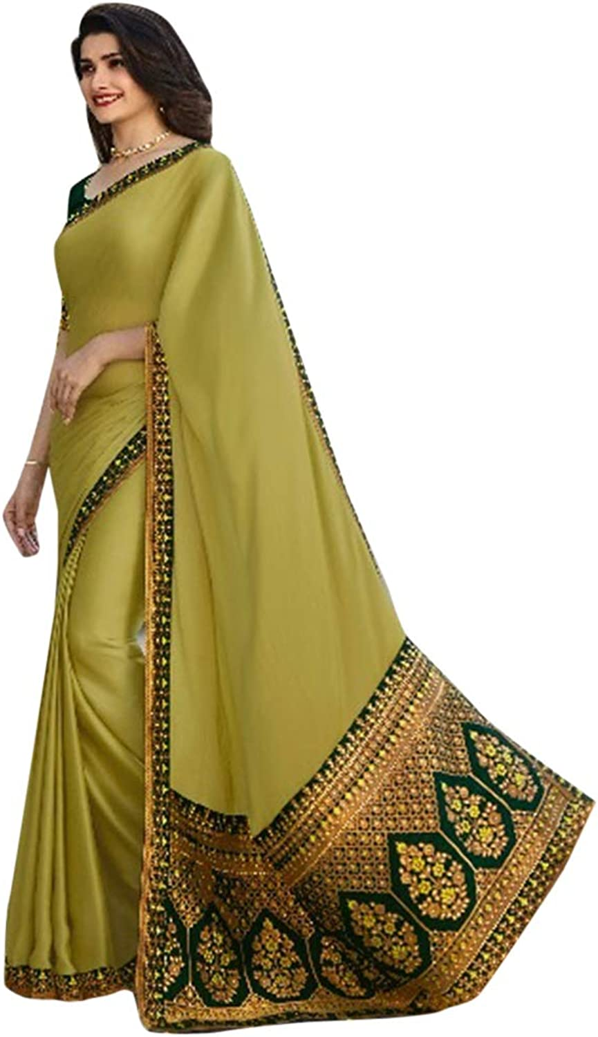Pure gold Silk Sari Heavy Embroidery Pallu with Tassels Designer Blouse Saree Indian Women Ethnic 7258