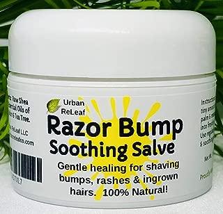 Urban ReLeaf Razor Bump Soothing Salve! 1 oz. Quickly Soothe Bumps, rashes, ingrown Hairs & Razor Burn. 100% Natural, Vegan. Pure Shea, Tea Tree, Lemon Balm. for face, Neck, Bikini, Body!