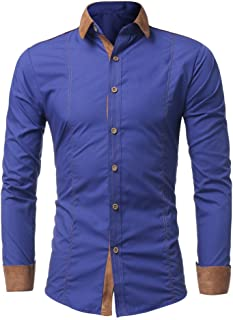 OrchidAmor Men Shirt Fashion Solid Color Male Casual Long Sleeve Shirt Mens Tshirt Pack Pack of Tshirts for Men