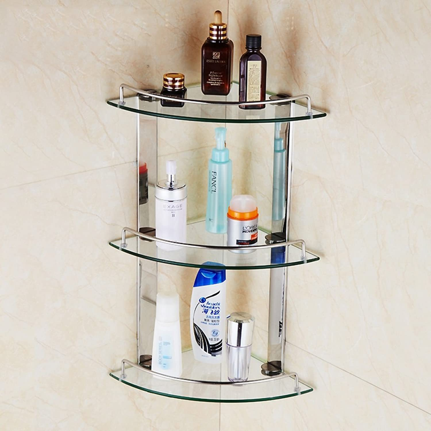 Shelf Stainless Steel Toilet Bathroom Single Double Triple Corner Fan Triangle Glass Shelf (Size   Three layers20cm)