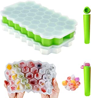 SiliconeIceCubeTray 2 Pack IceCubeMold with Lids Honeycomb BPA-Free IceTrays Make 74 Ice Cubes for Freezing Food Whi...