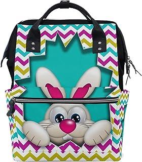 Backpack for Men Women, Bunny Hidden in Zigzag Egg Hollow Casual Water-Resistant College School Backpack