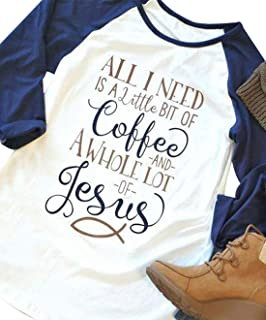 Coffee and Jesus T Shirt Christian Tee Shirts Tops for Women Casual Letter Print Tee Shirts Raglan Sleeve Tee Shirt