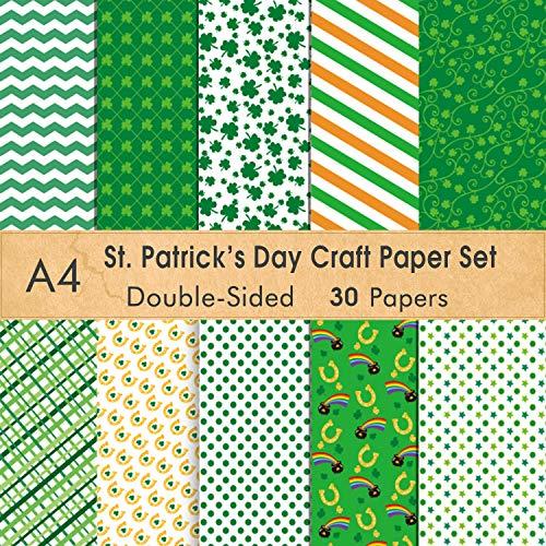 FEPITO St.Patricks Dagpatroon Papierset, A4 formaat Decoratieve Papieren Kaart maken Scrapbook Decoratie, St.Patricks Dag Feestbenodigdheden 30PCS