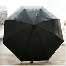 Gentle Men Three Folding Compact Fully Automatic Large Imitation Leather Winfproof Strong Umbrella,Black