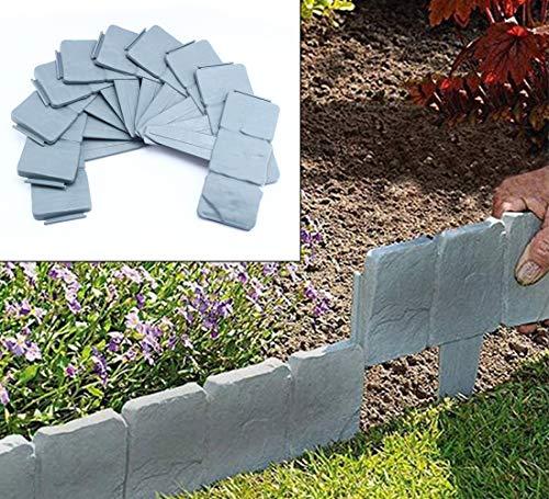 SOKLIT Paquete de 30 cercas de plástico con efecto de piedra gris para jardín o césped