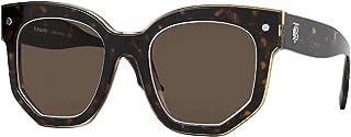 نظارات شمسية BE4307 366073 من بيربري للنساء عدسات شفافة بلون بني هافانا مقاس 50 ملم