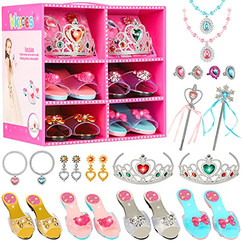 Princess Jewelry Boutique Dress Up and Elegant Shoe(4 Pairs of Girls Heels Shoes),Role Play Fashion Accessories of Crowns, Necklaces, Bracelets, Rings,Girls Beauty Gift Toys for Age 2 3 4 5 6 Year Old