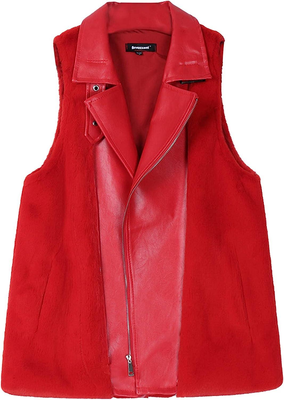 ONSEFZMZ Winter Red Light Fluffy Faux Fur Vest for Women Zipper Sleeveless Leather Biker Jacket with Fur