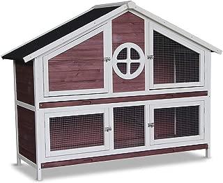 YIMEI Rabbit Hutch Chicken Coop Pet Bunny Cage, Wood Small Animals Pet House, Wooden 2-Storey Wire Mesh Door Ventilation for Outdoor and Indoor