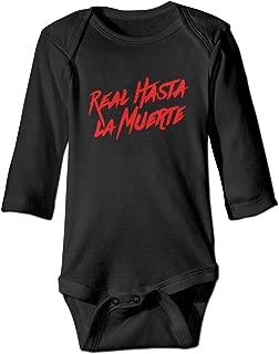 Real Hasta La Muerte Logo Retro Newborn Baby Long Sleeve Bodysuit Romper Infant Summer Clothing Gray