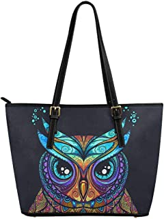 InterestPrint Fashion Stripes Chevron Leather Tote Shoulder Bags Handbags for Women