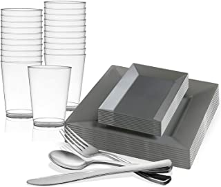 Disposable Plastic Dinnerware Set for 60 Guests - Includes Fancy Square Silver Dinner Plates, Rectangle Dessert/Salad Plates Silverware Set/Cutlery & Cups For Wedding, Birthday Party & Other Occasions