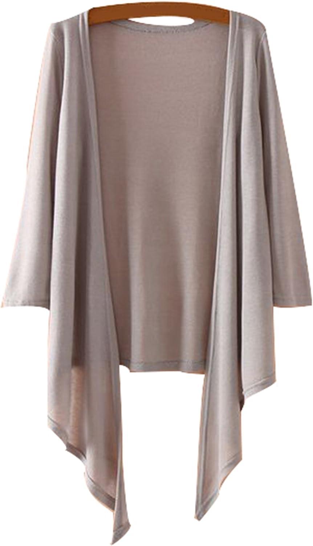 TRENDY XU Womens Plus Size Loose Knitting Shrug Shawl Three Quarter Sleeve Cardigan