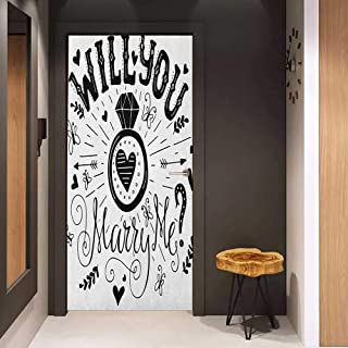 Onefzc Door Wall Sticker Engagement Party Western Themed Will You Marry Me Quote with Hearts Celebration Image Mural Wallpaper W32 x H80 Black and White