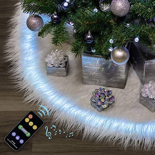 Falda de árbol de Navidad de Halo de 60 pulgadas con luces LED programables / sincronización de música - Piel sintética de felpa blanca & controlador