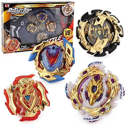 Conjuntos de Metal de Peonzas Spinning Fusión 4D 4 Piezas Box Gyro Lucha Maestro Cadena Launcher con Estadio Infinity Nado (XD168-12)