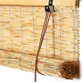 KDDEON Blackout Privacy Persianas Enrollables de Bambú,Persianas de Caña Tejidas a Mano Naturales,Decoración de Paredes de Patio Interior al Aire Libre Cortina de Paja (160x300cm/63x118in)
