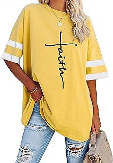 Women's Summer Plus Size Cross Letter Print T-Shirt Round...