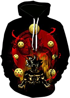 Men Cosplay Dragon Ball Z 3D Print Pullover Hoodie Sweatshirt with Pocket