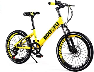 Pedal Bike 20 Inches 7-Speed Ages 10 to 15 Years Boys' Mountain Bike Outdoor Shock Absorption Single Speed Dual Disc Brake...