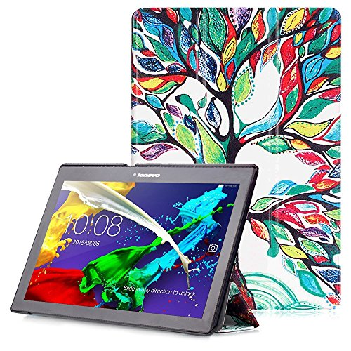 Lenovo Tab 2 A10 / Tab 3 10 Case - Smart Cover with Auto Wake / Sleep Function for Lenovo Tab 2 A10-30 / Tab 2 A10-70 / Tab 3 10 Plus / Tab 3 10 Business / Tab 3 10.1 Inch Tablet, Colorful Tree