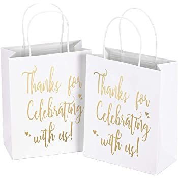 """LaRibbons Medium Size Gift Bags - Gold Foil""""Thanks for Celebrating with us"""" White Paper Bags with Handles for Wedding, Birthday, Baby Shower, Party Favors - 25 Pack - 8"""" x 4"""" x 10"""""""