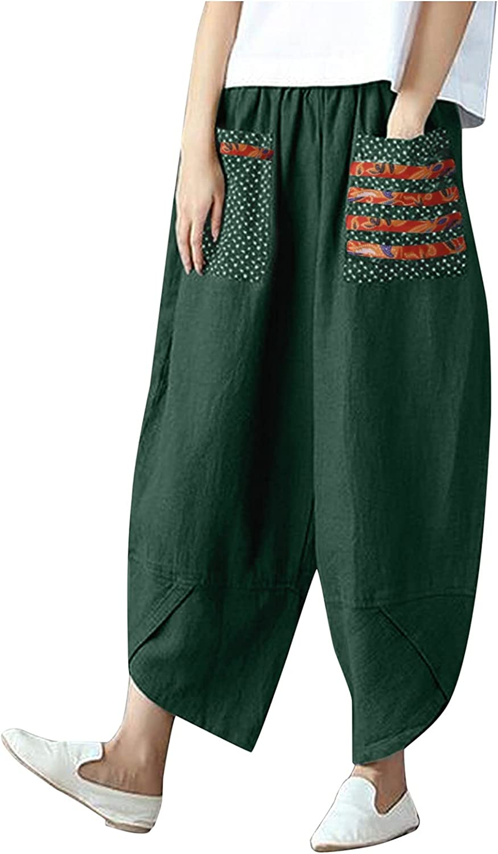 HHoo88 Womens Harem Pants Trousers Cotton Luxury Nashville-Davidson Mall goods Leg Wide Elastic