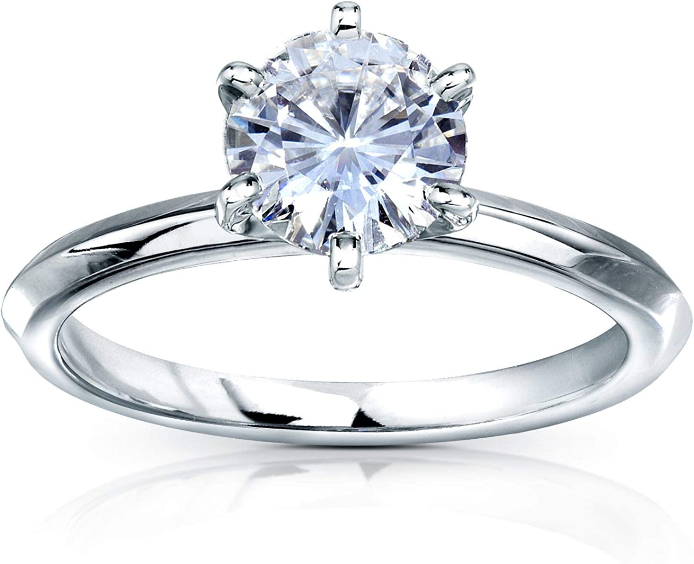 Kobelli Classic Solitaire Round Brilliant Moissanite Engagement Ring 1 Carat 14k White Gold (DEF, VS)