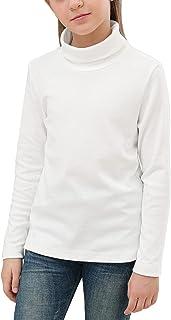 GORLYA Girls Shirt Turtleneck Slim Fit Blouse Basic Knit Mock Tunic Tops for 4-14T