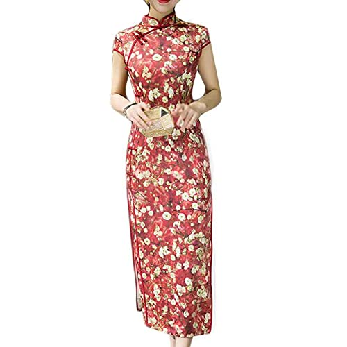 3059a8a0ae5f PANDA SUPERSTORE Red Dress Bodycon Long Dress Mandarin Collar Cheongsam  Chinese Traditional Dress