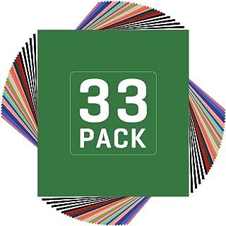 "JANDJPACKAGING HTV Heat Transfer Vinyl Bundle - 33 Pack 12"" x 10"" Sheets HTV Vinyl, 22 Assorted Colors Iron on Vinyl for Cricut & Heat Press Machine - Perfect for T Shirts & Other Fabric"