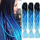 ColorfulPanda Meches Pour Tresses Africaine Tressage Box Crochet Braids Rajout Extension Cheveux Fibre Synthetique 3 Pcs (3 Couleurs) - 24 Pouces Noie+Bleu Ombre+Bleu Ciel