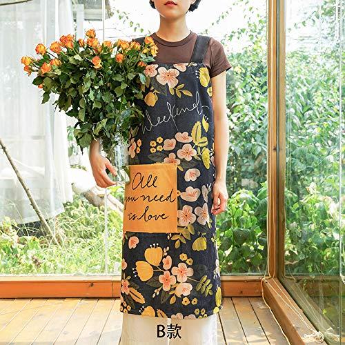 YXDZ Amerikanische Gartenpflanze Paar Ärmellose Stoff Hause Küche Backen Schürze Kochen Männer Und Frauen Taille Taille Chef Kleid F